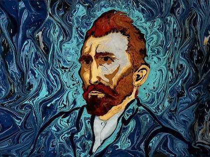 "Van Gogh's ""Starry Night"" Painted On Dark Water By Turkish Ebru Artist Garip Ay"