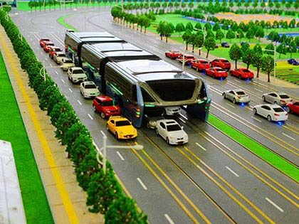 Future Elevated Bus Can Drive Above Other Cars To Alleviate Traffic Jam