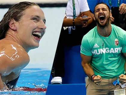 Olympic Husband Goes Nuts In Stands Cheering For Swimmer Wife